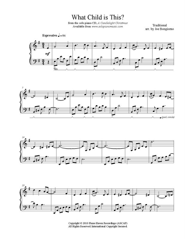 Piano somewhere piano sheet music : What Child is This? (Greensleeves) sheet music PDF - Joe Bongiorno ...