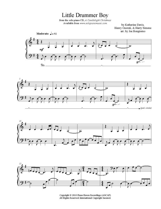 Little Drummer Boy - sheet music PDF - Joe Bongiorno - Shigeru ...