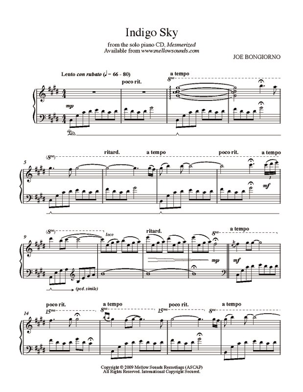 Indigo Sky - sheet music PDF - Joe Bongiorno - Shigeru Kawai