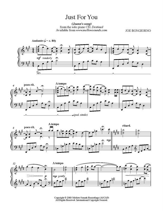 Just for You - sheet music PDF - Joe Bongiorno - Shigeru Kawai ...