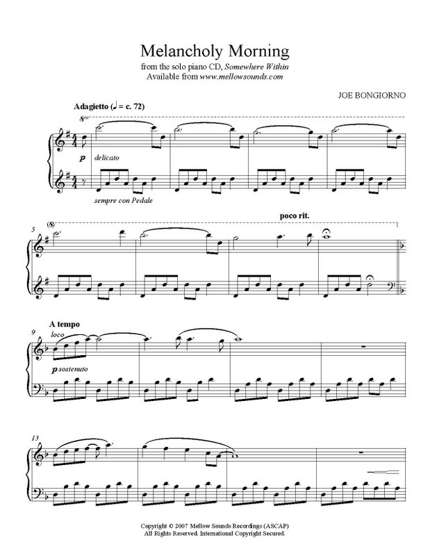 Piano somewhere piano sheet music : Melancholy Morning - sheet music PDF - Joe Bongiorno - Shigeru ...