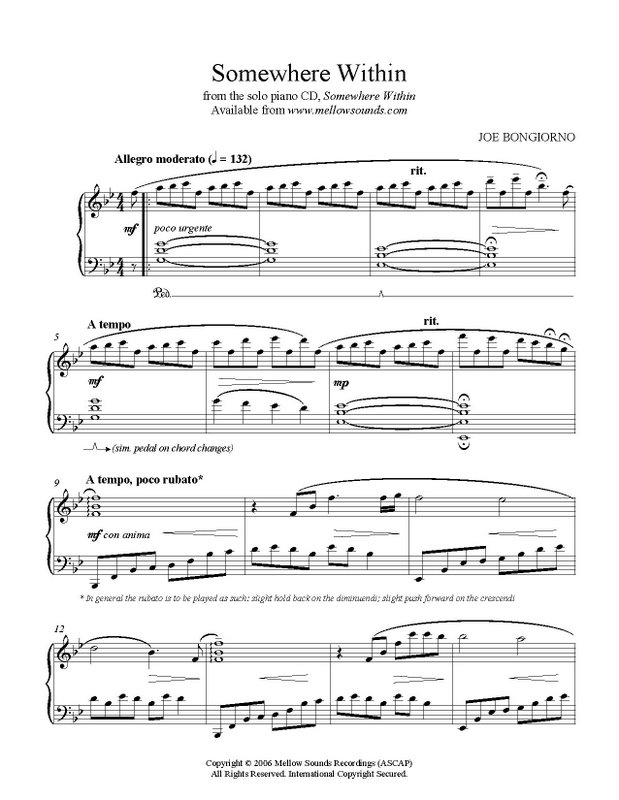 Piano somewhere piano sheet music : Somewhere Within - sheet music PDF - Joe Bongiorno - Shigeru Kawai ...