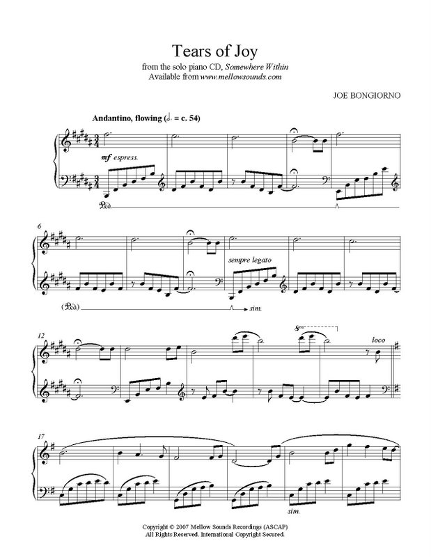 Piano somewhere piano sheet music : Tears of Joy - sheet music PDF - Joe Bongiorno - Shigeru Kawai ...