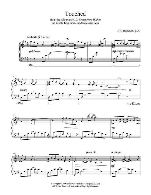 Piano somewhere piano sheet music : Touched - sheet music PDF - Joe Bongiorno - Shigeru Kawai solo ...