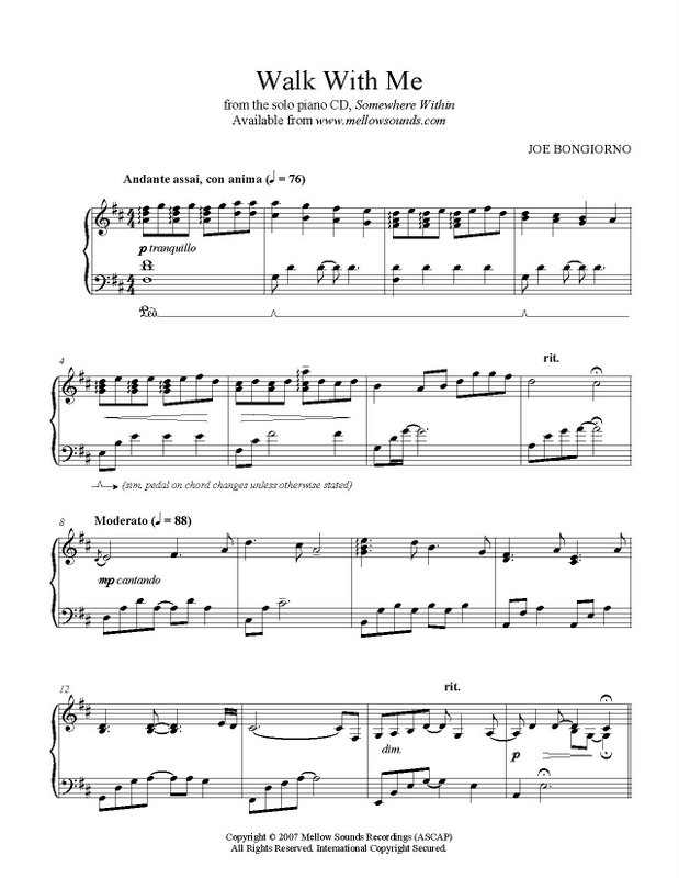 Piano somewhere piano sheet music : Walk With Me - sheet music PDF - Joe Bongiorno - Shigeru Kawai ...